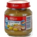 Puree Semper Potatoes with flounder without starch and salt for 8+ month old babies glass jar 125g Spain