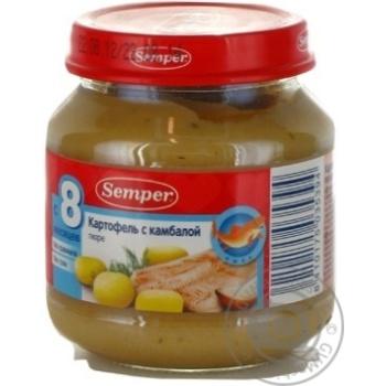 Пюре растительно-рыбное Семпер Картофель с камбалой без крахмала и соли для детей с 8 месяцев стеклянная банка 125г Испания