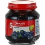 Puree Semper Blueberries for 5+ month old babies glass jar 125g Spain