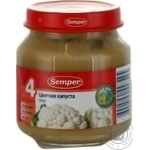 Puree Semper Cauliflower gluten salt and starch free with vitamin C for 4+ month old babies glass jar 125g Turkey