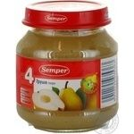 Puree Semper Pear gluten and sugar free with vitamin C for 4+ month old babies glass jar 125g Spain