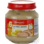Puree Semper Potatoes with rabbit gluten-free for 6+ month old babies glass jar 125g Spain