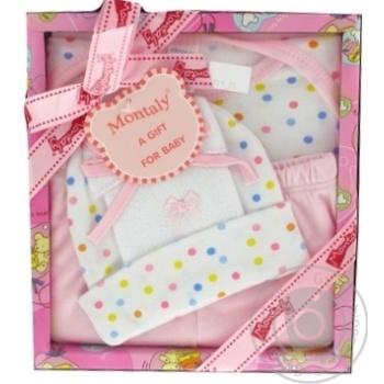 Набір дитячий Montaly комбінезон,шапка,штани,нагрудник,пінетки,гребінець 2шт 0-3міс.рожевий 712FR071A