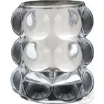 Свічка у рельєфному склі біла Bolsius 98*84мм