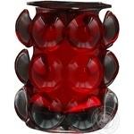 Свічка у рельєфному склі червона Bolsius 98*84мм