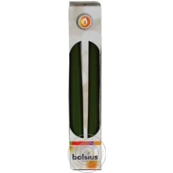 Набір свічок столових Bolsius оливковий 245*24мм 2шт