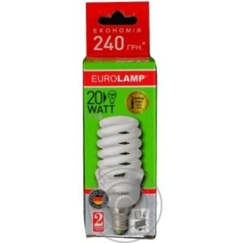 Лампа енергозберігаюча Eurolamp T2 Spiral 20W 4100K E14 артикул LN-20144