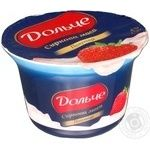 Cottage cheese Dolce with strawberry heat-treated 8% 170g plastic cup Ukraine