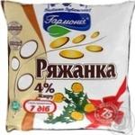 Fermented baked milk Garmoniya 4% 400g sachet Ukraine