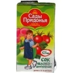 Reconstituted clarified sterilized sugar-free juice Sady Pridonia apples and dog-rose for 6+ months babies tetra pak 125ml Russia