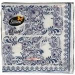 Салфетки Silken Decor целлюлозные трехслойные с печатью Гжель 20шт