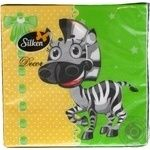 Paper table napkins Silken Decor cellulosic three-layer with print Zebra 20pcs