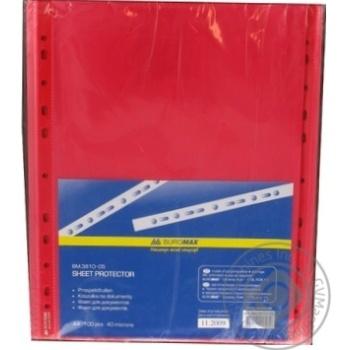 Файл для документів А4 BuroMax 40мкм червона 100шт