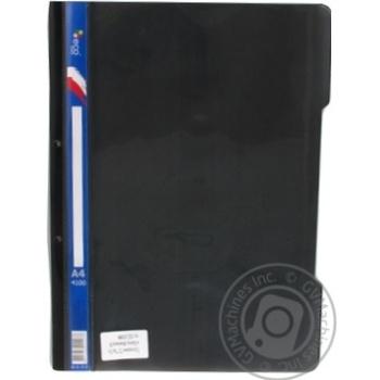 Швидкозшивач пласиковий з прозорим верхом та перфорацією на 2 отвори Eco Eagle А4 130*160мкм колір асорті 4100-00