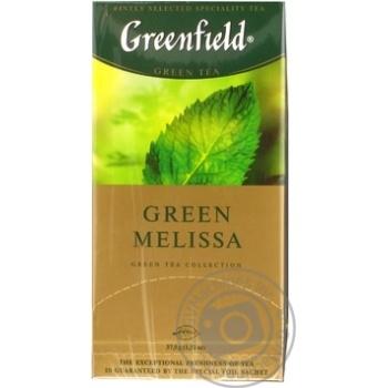 Чай Грінфілд Грін Меліса зелений з мелісою та ароматом м'яти та лимону 1,5г х 25шт