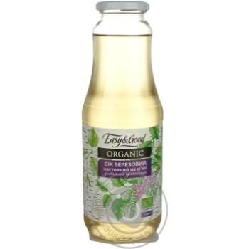 Сок Изи энд Гуд Органик Березовый настоянный на мяте диетический органический стерилизованный 1000мл стеклянная бутылка Украина