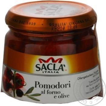 Овощи помидор Сакла с оливками консервированная 285г стеклянная банка Италия