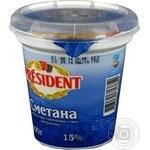 Sour cream President 15% plastic cup 300g Ukraine