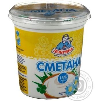 Сметана Добряна 15% пластиковый стакан 350г Украина