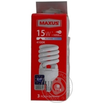 Лампа енергозберігаюча Maxus T2 NFS 15w 4100K E14,1-ESL-008-1