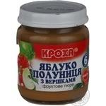 Puree Krokha strawberry cream for children from 6 months 100g glass jar Belarus
