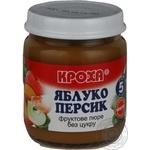 Puree Krokha peach sugar free for children from 5 months 100g glass jar Belarus