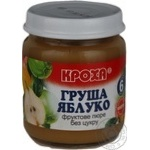 Puree Krokha pear sugar free for children from 6 months 100g glass jar Belarus