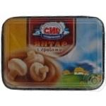 Cheese Bilocerkivskiy Yantar mushroom processed 60% 200g plastic cup Ukraine