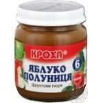 Puree Krokha strawberry for children from 6 months 100g glass jar Belarus