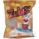 Вироби фігурні солодкі зі смаком пряженого молока  Melted Milk balls Zubby 40г