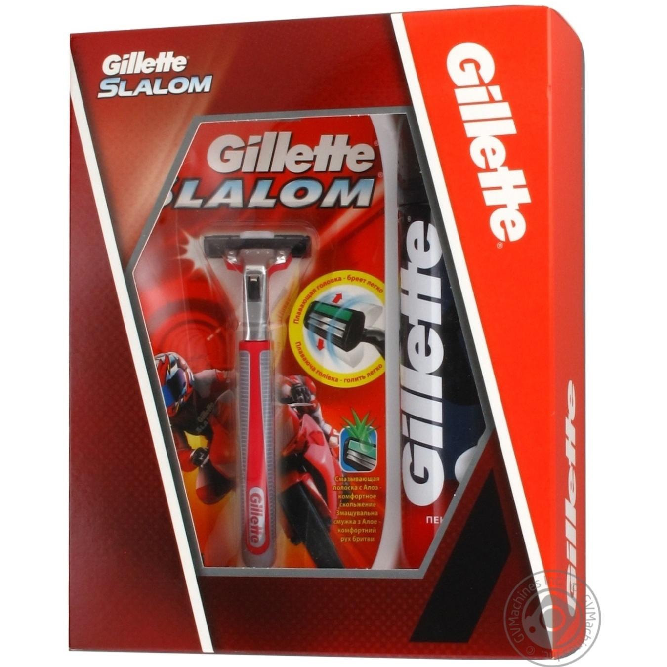 Подарочный набор Бритва Gillette Slalom + 1 картридж + Пена для бритья  Gillette Regular классическая 200мл ffdb99fb78476