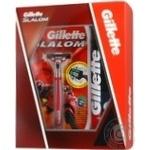 Подарочный набор Бритва Gillette Slalom + 1 картридж + Пена для бритья Gillette Regular классическая 200мл