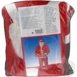 Костюм новорічний Санти для дорослих синтетичний трикотажний фетр набірз 5шт:1брюки 1 куртка 1 шапка 1 ремінь 1 борода