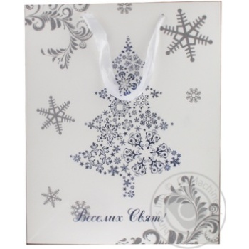 Пакет паперовий для подарунку різдвяний 32смХ26см преміум арт. X
