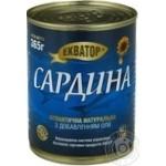 Рыба сардина Экватор консервированная 365г железная банка
