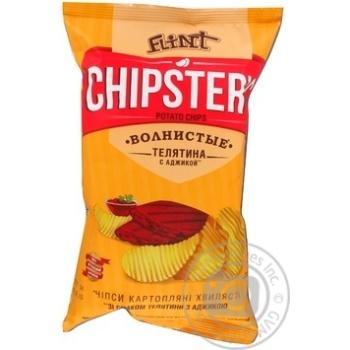 Скидка на Чипсы Flint Chipster's картофельные волнистые Телятина с аджикой 70г