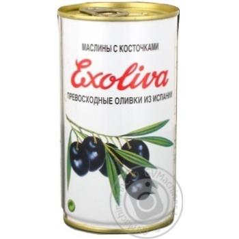 оливка Эксолива черное с косточкой 370мл железная банка
