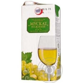 Вино мускат Повна чарка белое полусладкое 12% 1000мл тетрапакет