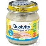 Пюре мясо-овощное Бебивита Гречневая каша с цыпленком для детей с 6 месяцев стеклянная банка 100г Россия