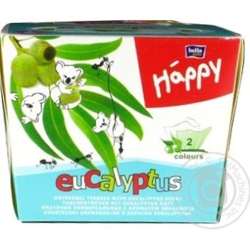 Хустинки паперові унiверсальні двошарові Bella Baby Happy 40+40шт ароматом эвкалипта - купить, цены на Novus - фото 2