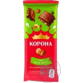 Шоколад Корона молочный с целыми лесными орехами 90г