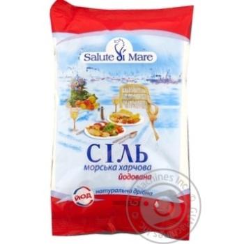 Соль Salute di Mare морская пищевая мелкая йодированная 600г