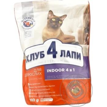 Корм Клуб 4 лапы Премиум полнорационный 4в1 для взрослых кошек 900г - купить, цены на Novus - фото 2