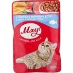 Мяу full-rationed canned pet food for adult cats With fish in delicate sauce 100g