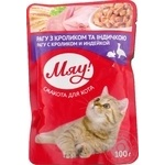 Мau! Canned pet food for adult cats Ragout with rabbit and turkey 100g