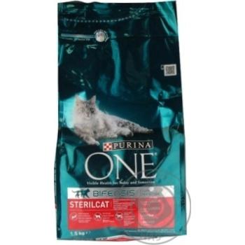Корм сухий Purina ONE Sterilcat З лососем та пшеницею для кастрованих котів та стерилізованих кішок 1,5кг