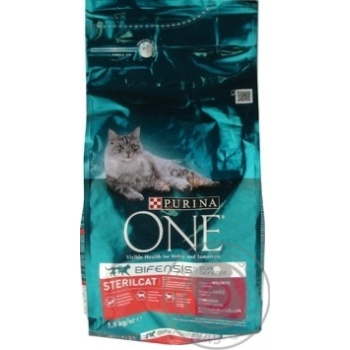 Корм сухий Purina ONE Sterilcat З яловичиною та пшеницею для кастрованих котів/стерилізованих кішок 1,5кг