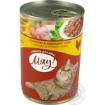 Мau! full-rationed canned pet food for adult cats With chicken in delicate sauce 415g