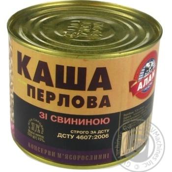 Консервы Алан Каша перловая со свининой 525г