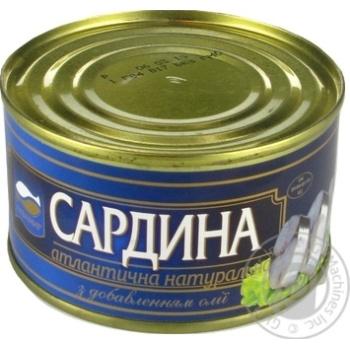 Косерва рыбная Аквамир скумбрия стерилизованная натуральная с добавлением масла 230г - купить, цены на Novus - фото 1